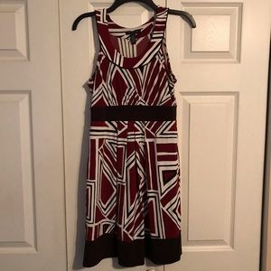 BANANA REPUBLIC Size Small Red Brown White Dress